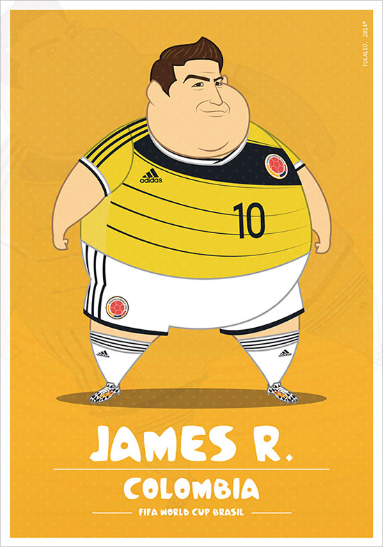 James R Colombia Fifa World Cup 2014 If Football Players Were Sumo Wrestlers | Fat but Flat Designs by Fulvio Obregon