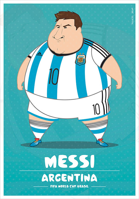 Messi Argentina Fifa World Cup Brazil 2014 If Football Players Were Sumo Wrestlers | Fat but Flat Designs by Fulvio Obregon