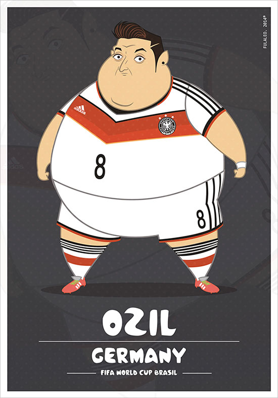 Ozil Germany Fifa World Cup 2014 If Football Players Were Sumo Wrestlers | Fat but Flat Designs by Fulvio Obregon