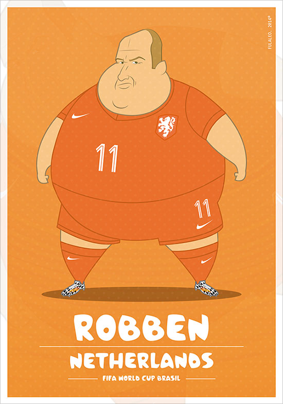 Robben Netherlands Fifa World Cup Brazil 2014 If Football Players Were Sumo Wrestlers | Fat but Flat Designs by Fulvio Obregon