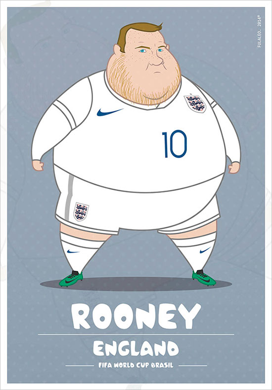 Rooney England Fifa World Cup Brasil If Football Players Were Sumo Wrestlers | Fat but Flat Designs by Fulvio Obregon