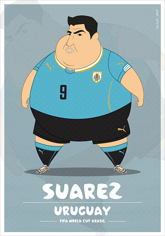 Saurez Uruguay Fifa World Cup 2014 If Football Players Were Sumo Wrestlers | Fat but Flat Designs by Fulvio Obregon