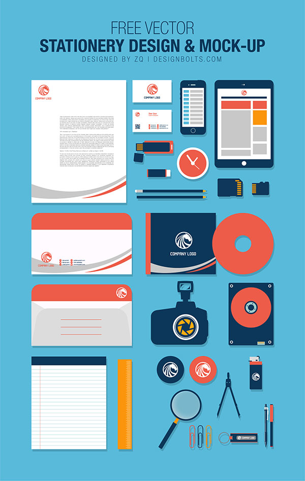 Free Flat Vector Stationery Design & Mock-up