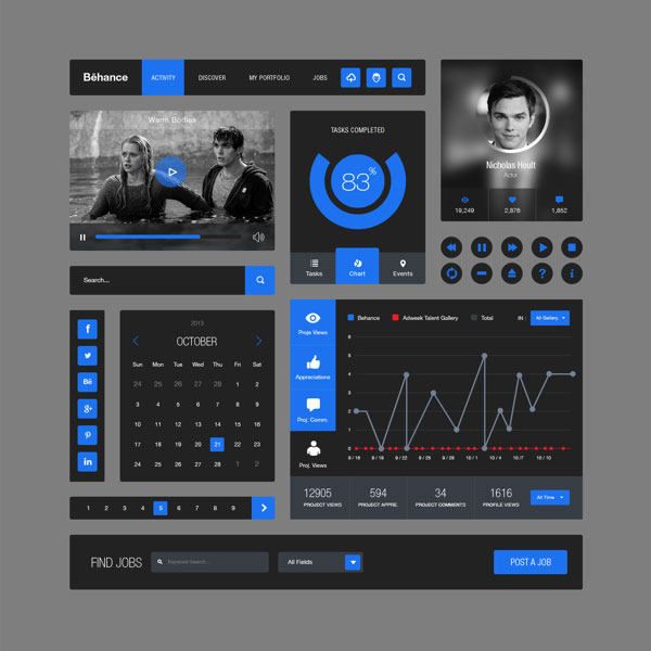 Behance-Style-Flat-Ui-Kit-FreePSD