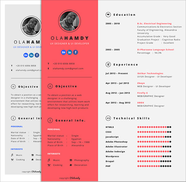 10 best free resume cv templates in ai indesign psd formats free clean interactive resume template for girls yelopaper Choice Image