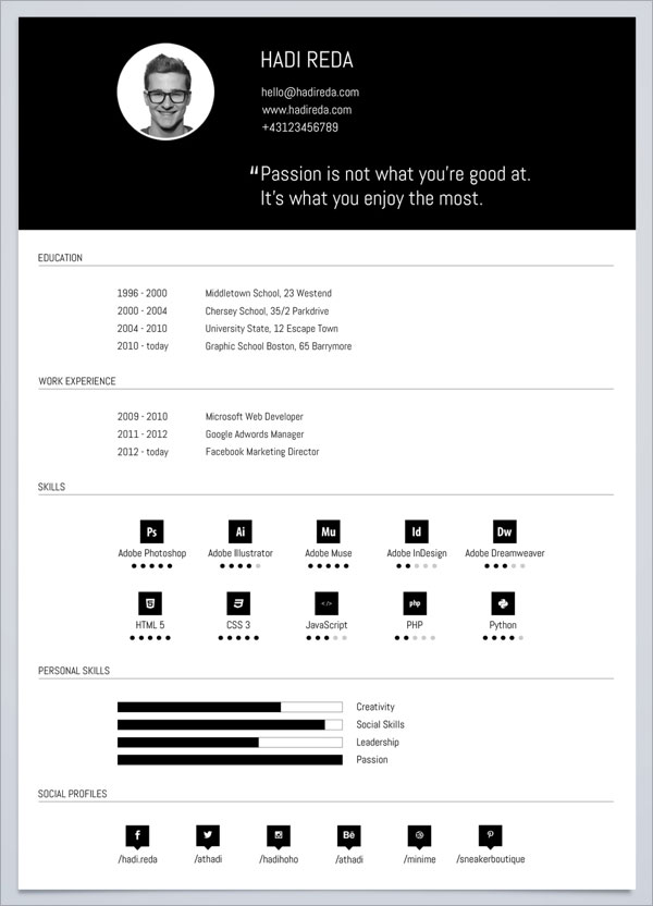 free black white cv template for web developer free_black__white_cv_template_download - Resume Templates To Download