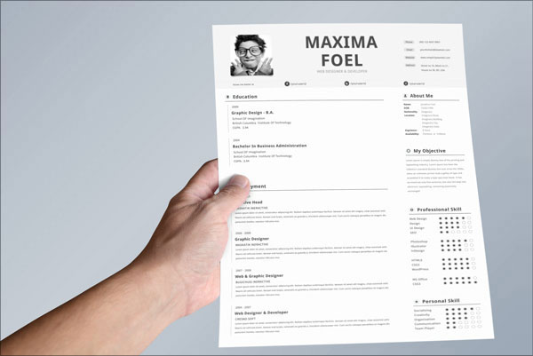 Free Premium Resume Template For Web Designer