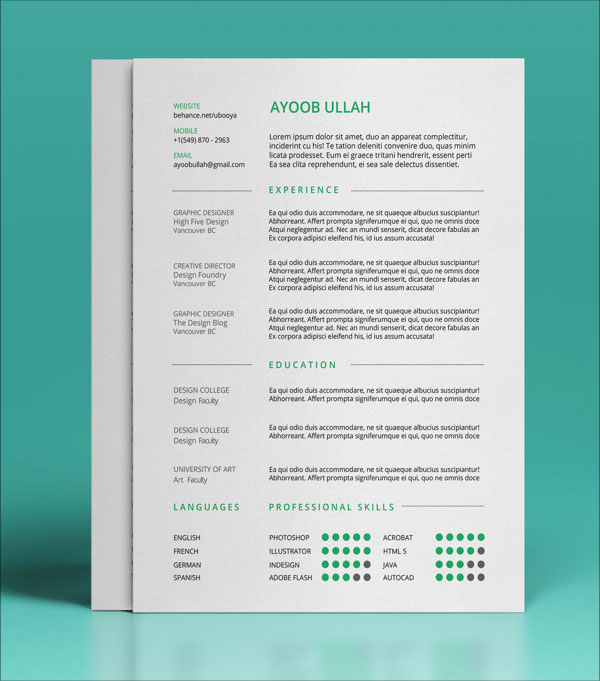 simple design resume template 10 best free resume cv templates in ai indesign psd formats