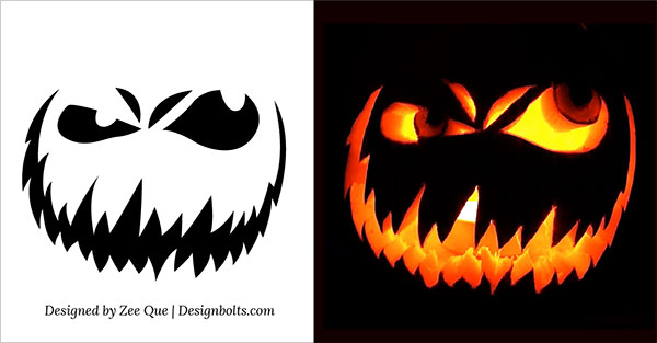 10 free scary halloween pumpkin carving patterns for Evil face pumpkin template