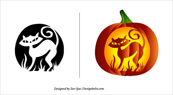 free scary pumpkin carving patterns stencils 01 - Free Scary Halloween Pumpkin Carving Patterns