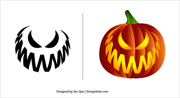 free scary pumpkin carving patterns stencils 04 - Free Scary Halloween Pumpkin Carving Patterns