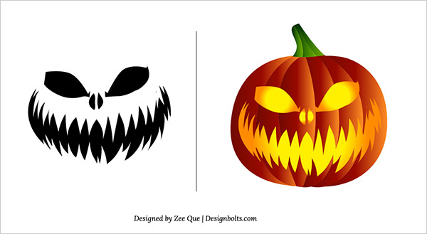 free scary pumpkin carving patterns head - Free Scary Halloween Pumpkin Carving Patterns