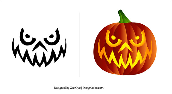 Free halloween scary pumpkin carving patterns stencils