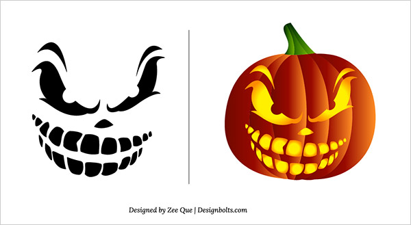 10 Free Halloween Scary Pumpkin Carving Patterns & Stencils