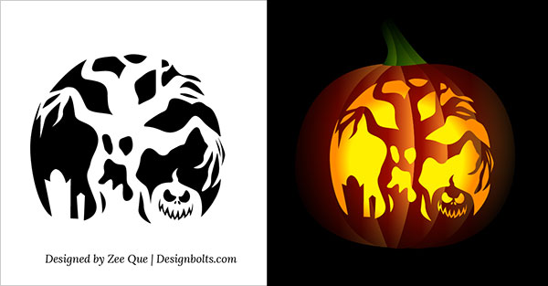 10 free printable scary pumpkin carving patterns stencils