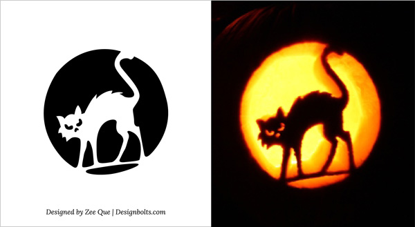 free printable cat scary halloween pumpkin carving ideas - Free Scary Halloween Pumpkin Carving Patterns