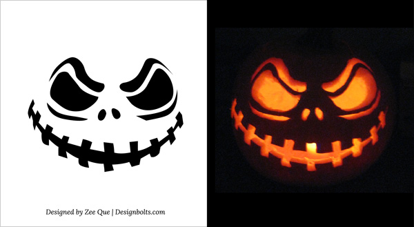 Free printable Face Scary Halloween Pumpkin Carving Stencils Patterns