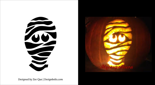 free printable scary mummy halloween pumpkin carving pattern