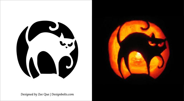 free printable scary halloween cat pumpkin carving stencils - Free Scary Halloween Pumpkin Carving Patterns