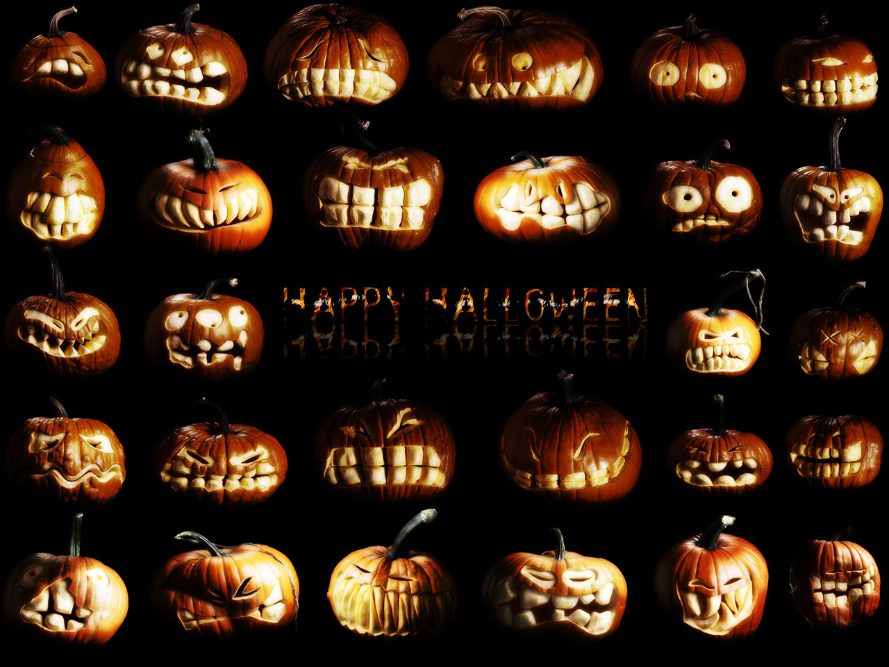 Awesome Happy Halloween Pumpkins Wallpaper HD