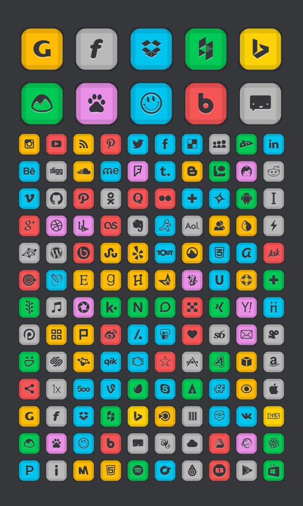 130 Beautiful Free Social Networking icons for dark Backgrounds (2)