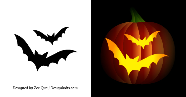 picture regarding Bat Pumpkin Stencils Printable named No cost Basic Uncomplicated Pumpkin Carving Stencils / Behavior for