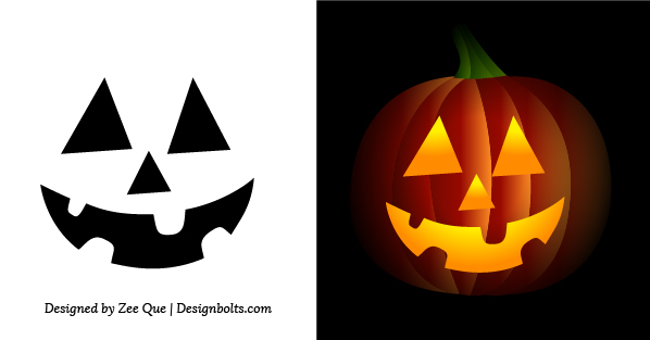 Free Simple & Easy Pumpkin Carving Stencils / Patterns for Kids 2014