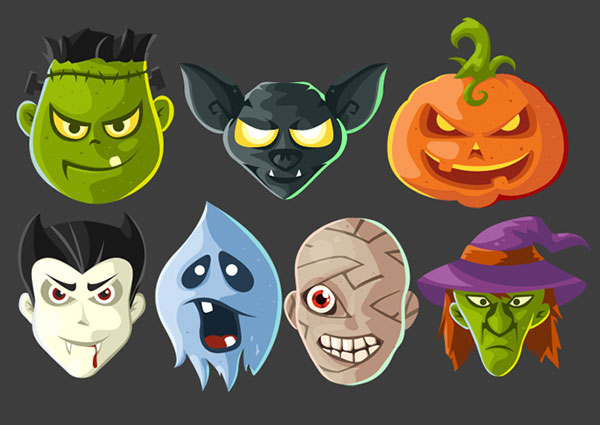 Free-Halloween-Head-Icons-PSD