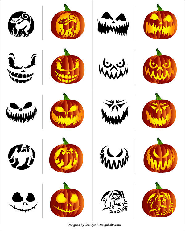 Free Scary Pumpkin Carving Patterns Stencils 2017