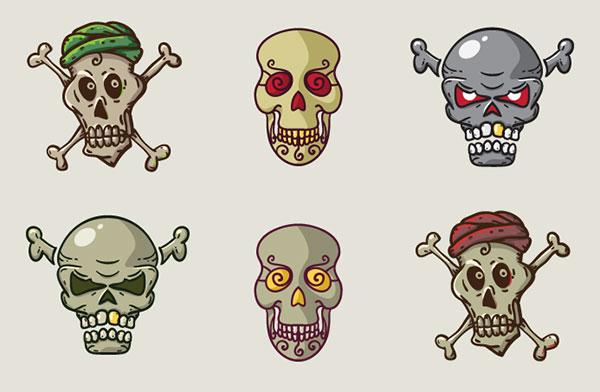 Free-Vector-Skulls-Icons