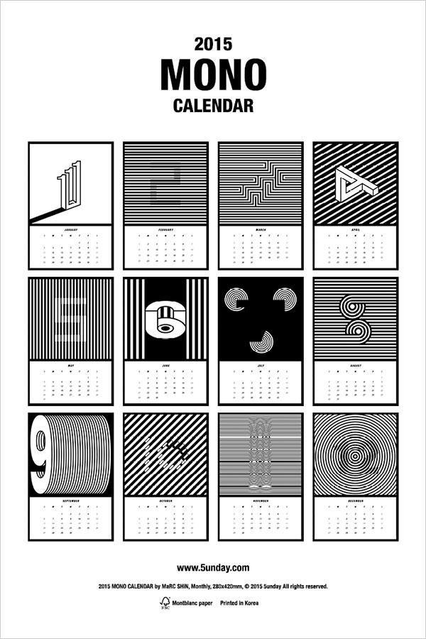 2015-Mono-Calendar-design