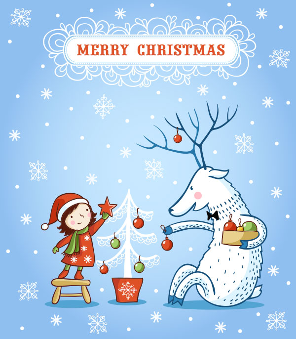 Delightful Cute Merry Christmas Card For Kids