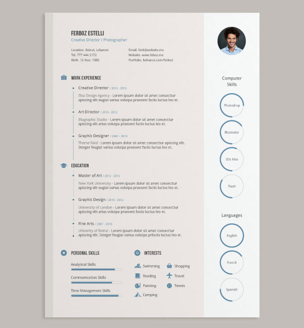 20 Best Free Resume (CV) Templates In Ai, Indesign & PSD