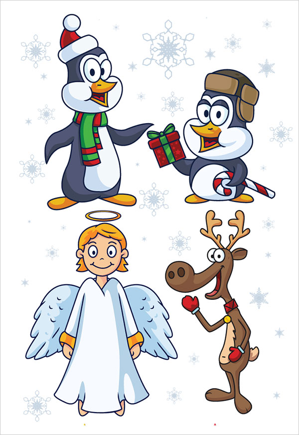 Free Christmas Penguin Angel & Reindeer
