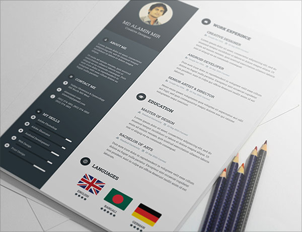 20 best free resume cv templates in ai indesign psd formats free psd resume template yelopaper Gallery