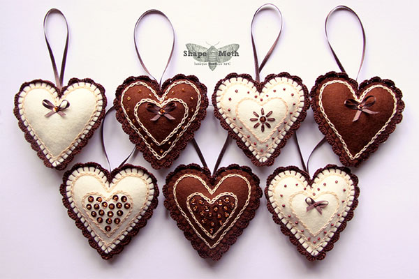 Heart-shaped-felt-ornaments