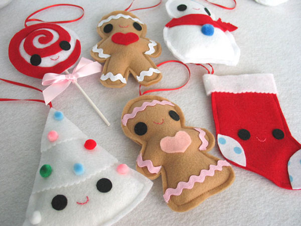 Lollipop,-Gingerbread-Boy,-Snowman,-Snow-Tree,-Gingerbread-Girl-and-Christmas-Stocking-ornament-collection