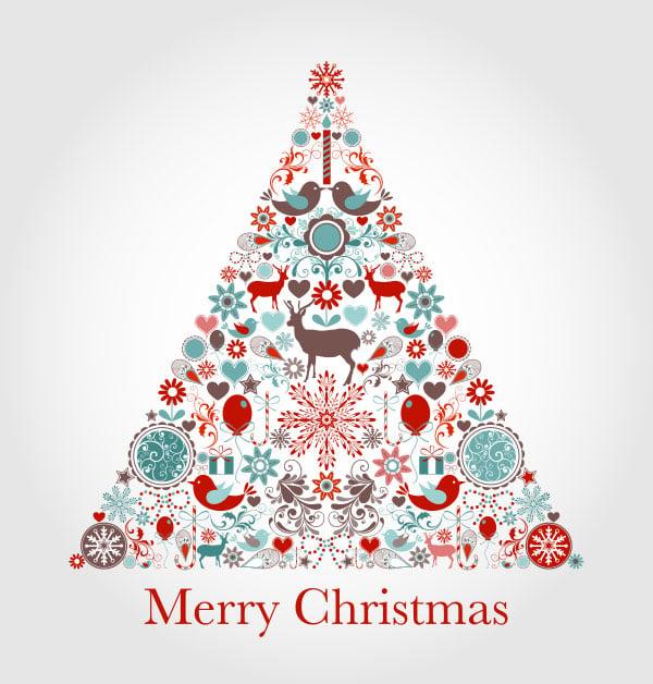 Vintage Christmas Tree Card Design