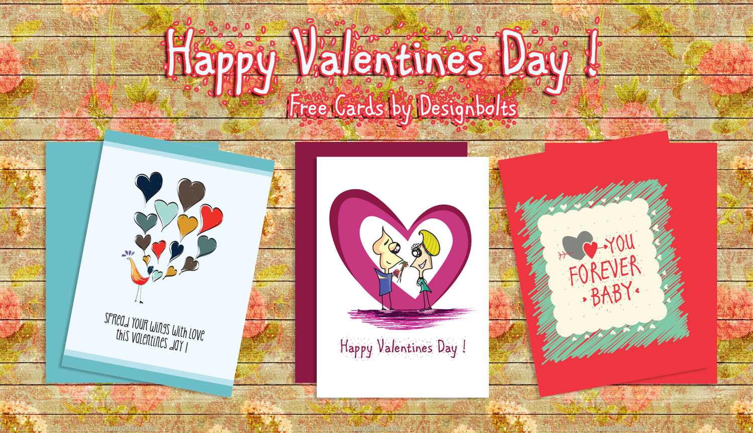 3 Free Happy Valentines Day Card Designs Vector Illustrations – Happy Valentines Day 2015 Cards