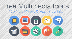Free-Flat-Long-Shadow-Multimedia-Icons-1024-Px-PNGs-&-Vector-Ai-File