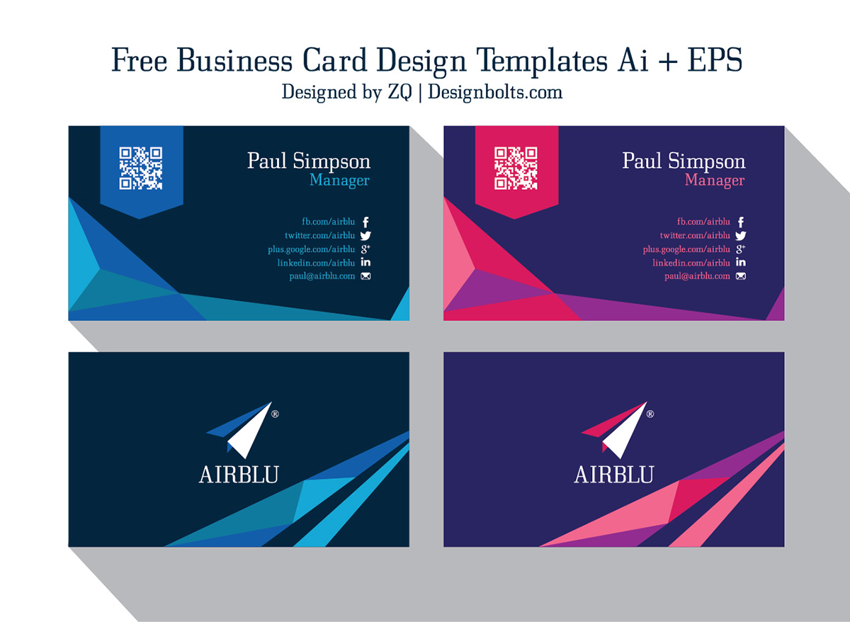 2 free professional premium business card design templates for Free business card design templates