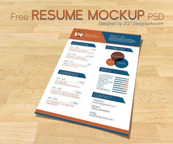10 best free resume  cv  design templates in ai  u0026 mockup psd  u2013 designbolts