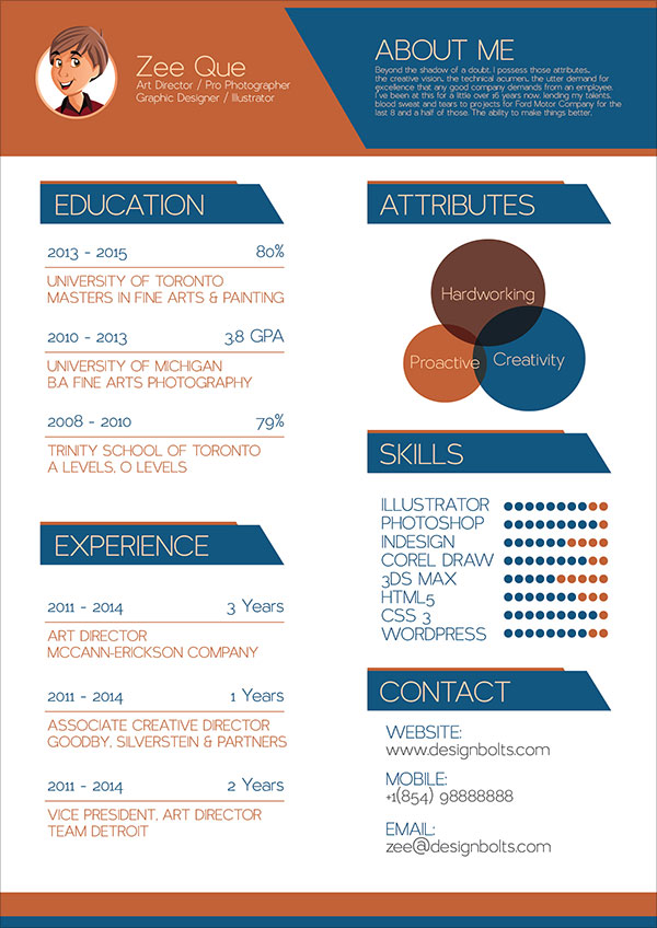 Free Resume (CV) Template Graphic Designers | Vector Illustrator Ai File