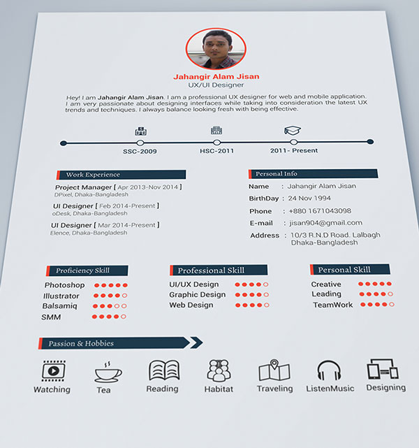 10 best free resume  cv  design templates in ai  u0026 mockup psd collection