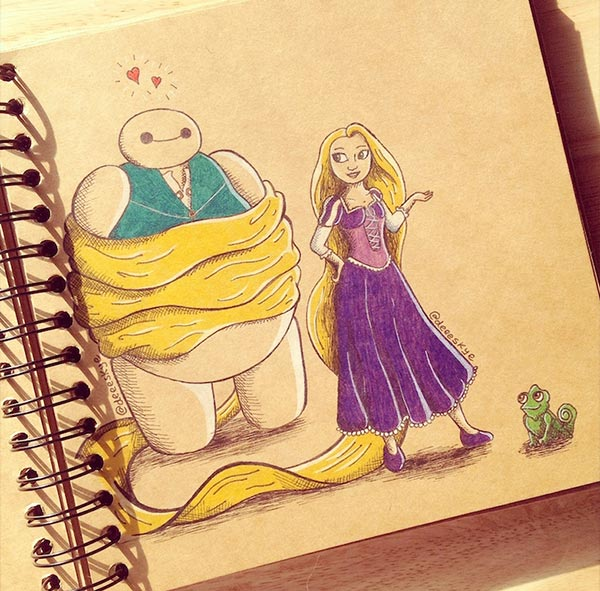 Rapunzel-meets-Baymax