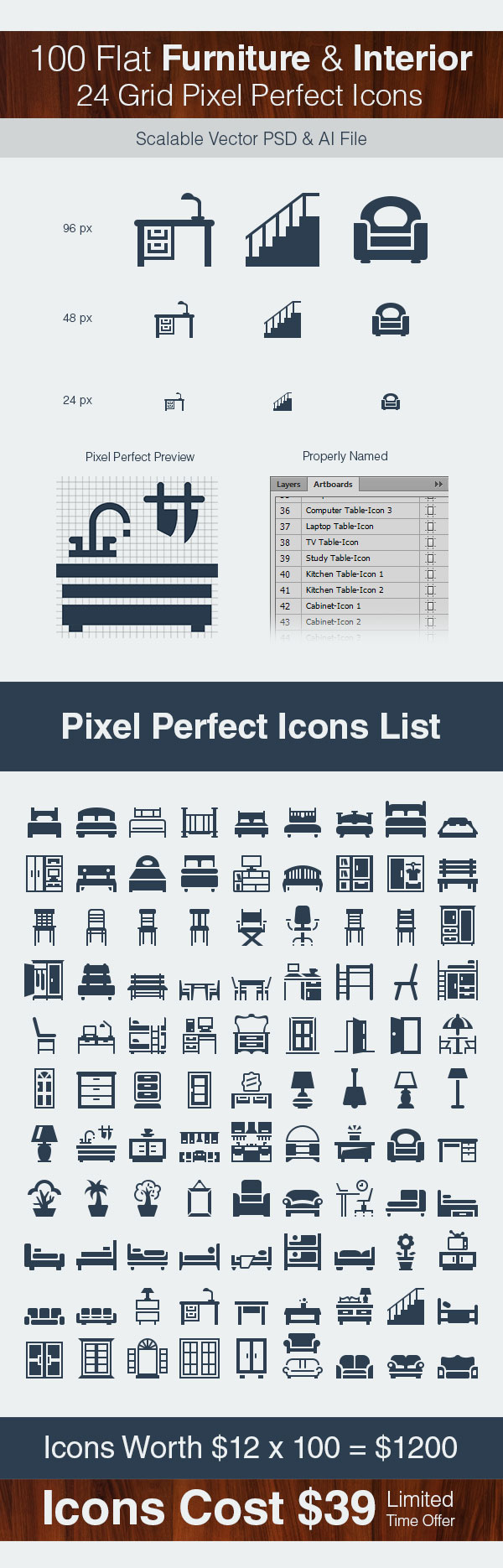 flat furniture interior pixel perfect icons ai vector psd. Black Bedroom Furniture Sets. Home Design Ideas