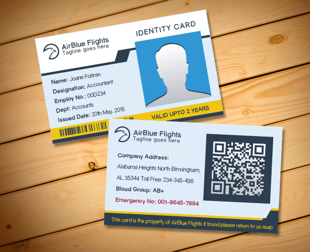 Free Company Employee Identity Card Design Templates - Card template free: employee id card template