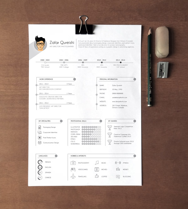 A4 Free Professional Resume Template Ai File