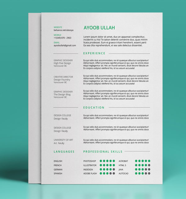Beautiful Resume Templates free resume template indesign word photoshop psd Free Resume Ai Template