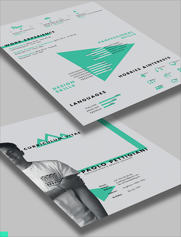 free beautiful cv template psd ai